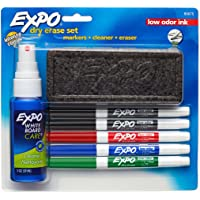 Expo Low-Odor Dry Erase Set, Fine Point, 7-Piece with Cleaner, Assorted Colors (80675)