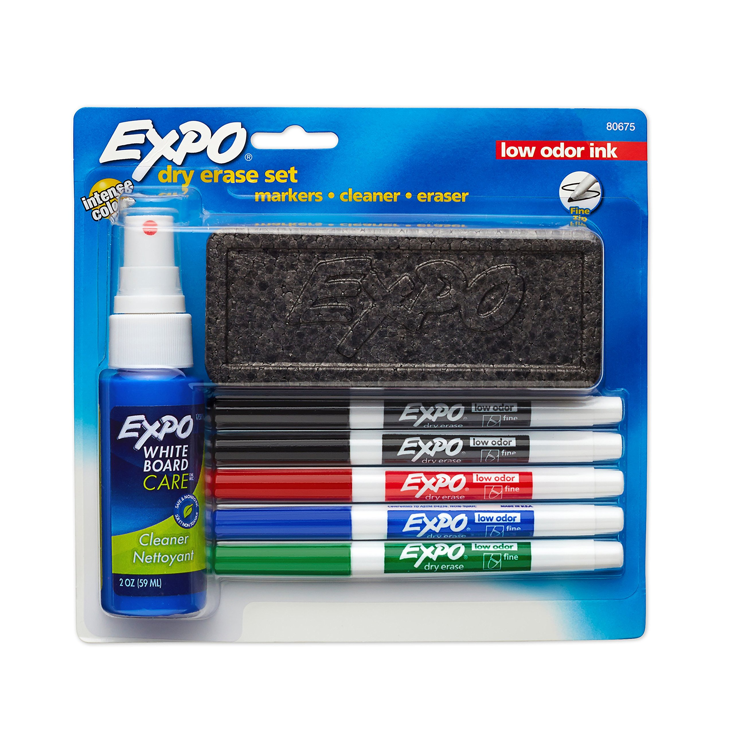Expo Low Odor Dry Erase Marker Set with White Board Eraser and Cleaner | Fine Tip Dry Erase Markers | Assorted Colors, 7 Piece Set with Whiteboard Cleaner