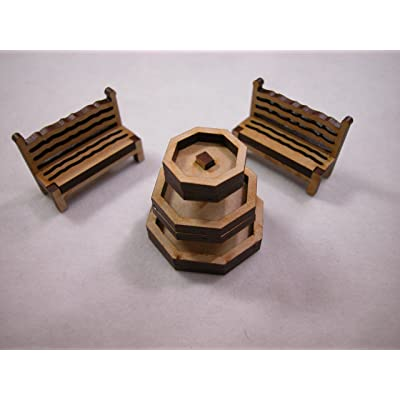 "Dollhouse Miniature 1.5""x1.5"" Laser Cut Wooden Patio Fountain Set w/Benches #Z294: Toys & Games"