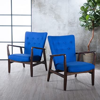 Amazoncom Suffolk French Style Fabric Arm Chair Set Of 2 Navy