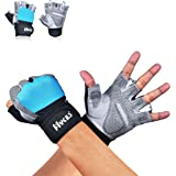 Hykes Gym Gloves - Weight Lifting Fitness Hand Grips with Wrist Support for Workout Powerlifting Fitness Training - Men and Women