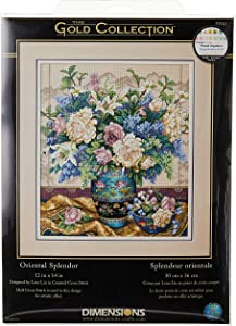 Dimensions Gold Collection Counted Cross Stitch Kit, Oriental Splendor, 18 Count Beige Aida, 12'' x 14''