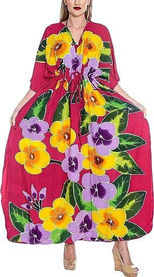 LA LEELA Mujeres caftán Rayón túnica Impreso Kimono Libre tamaño Largo Maxi Vestido de Fiesta para Loungewear Vacaciones Ropa de Dormir Playa Todos los días Cubrir Vestidos Z