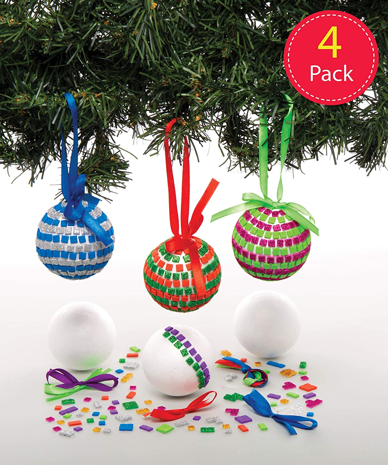 Christmas Arts and Crafts Baker Ross Mosaic Ornament Kits Pack of 4