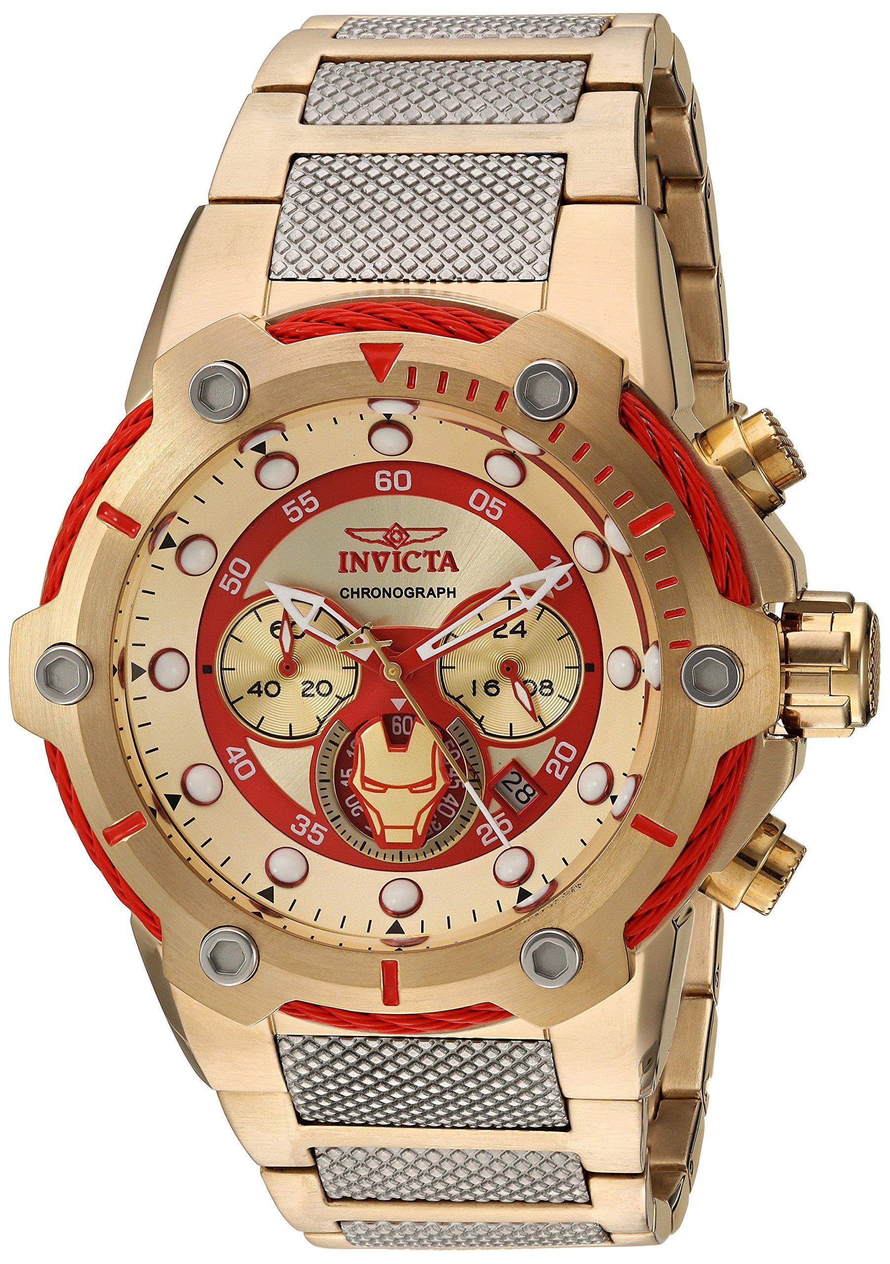 ویکالا · خرید  اصل اورجینال · خرید از آمازون · Invicta Marvel Iron Man Edition Gold Dial Chronograph Stainless Steel Men's Watch 25781 wekala · ویکالا