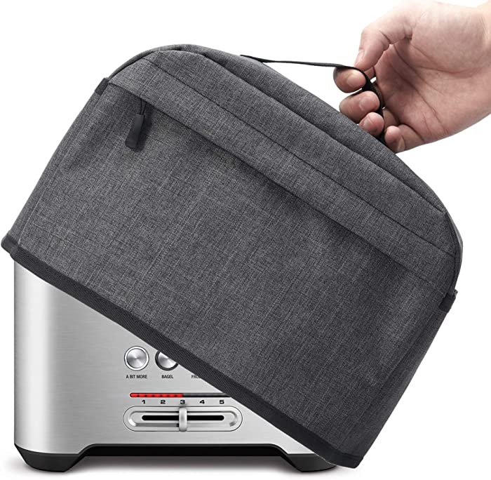 2 Slice Toaster Cover with Zipper & Open Pockets Kitchen Small Appliance Cover with Handle, Dust and Fingerprint Protection, Machine Washable, Dark Grey