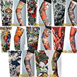 8 x AKORD® Stretch Nylon Fake Tattoo Sleeves / Arms - Fancy Dress, Eagle / Tiger / Skull / Nun / Clown / Woman Tattoo