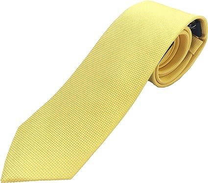 Corbata amarilla / oro con structura de lujo, 100% seda, fabricada ...