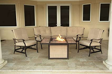 Hanover Outdoor Furniture 4 Piece Traditions Tile Tabletop Fire Pit Lounge  Set, Natural Oat/