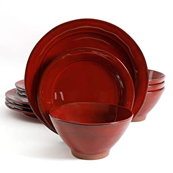 Gibson Elite Terranea 12 Piece Dinnerware Set Red  sc 1 st  Amazon.com & Amazon.com | Gibson Elite Terranea 12 Piece Dinnerware Set Red ...