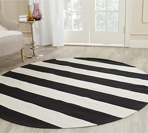 Safavieh Montauk Collection MTK712D Handmade Flatweave Black and Ivory Cotton Round Area Rug 4' Diameter