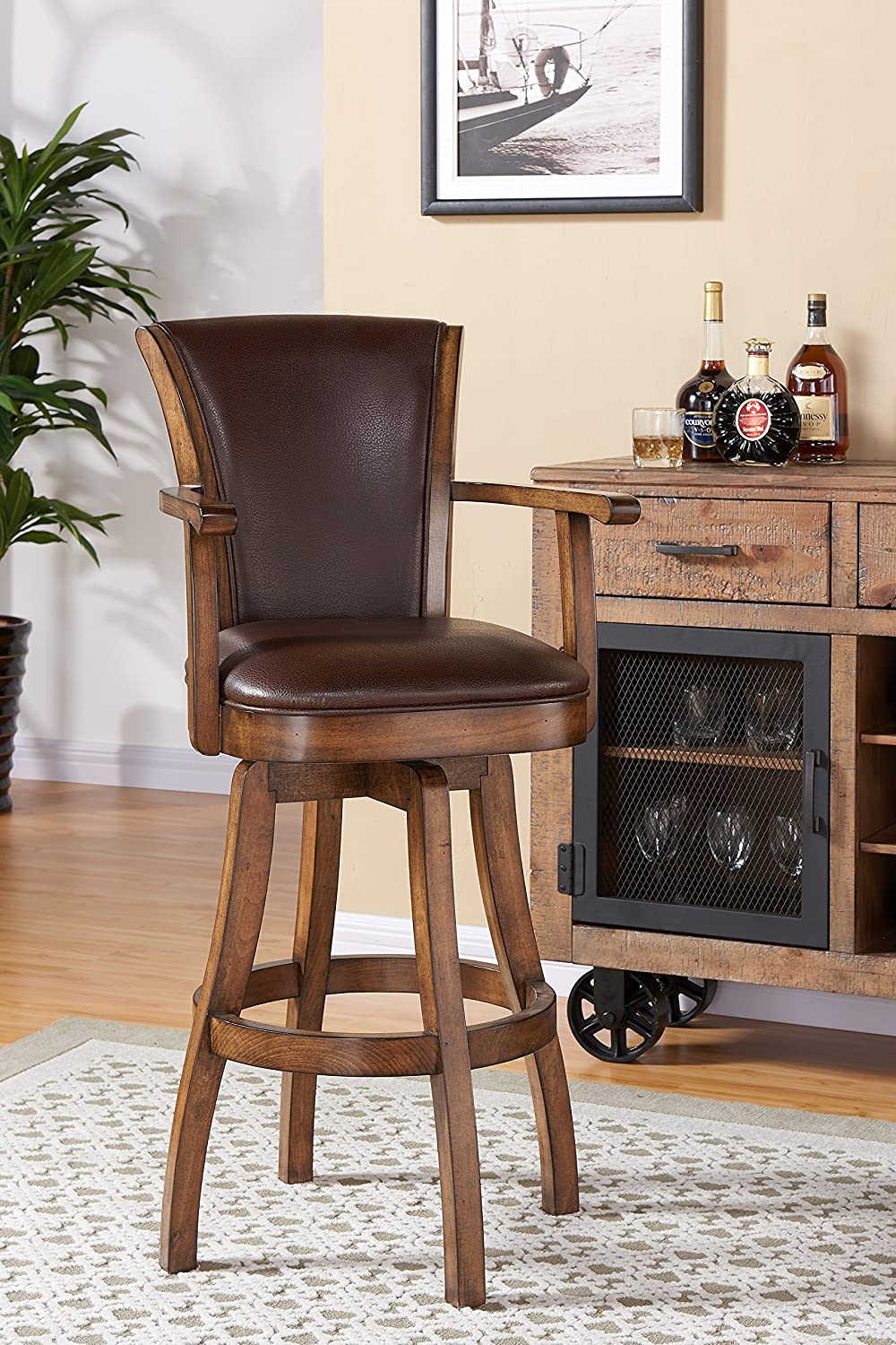 Groovy Armen Living Lcrabaarkach30 Raleigh Arm 30 Bar Height Swivel Barstool In Kahlua Faux Leather And Chestnut Wood Finish Ncnpc Chair Design For Home Ncnpcorg