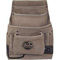 Graintex SS2180 :: 10 Pocket Nail & Tool Pouch Beige Color Suede Leather for Constructors, Electricians, Plumbers…