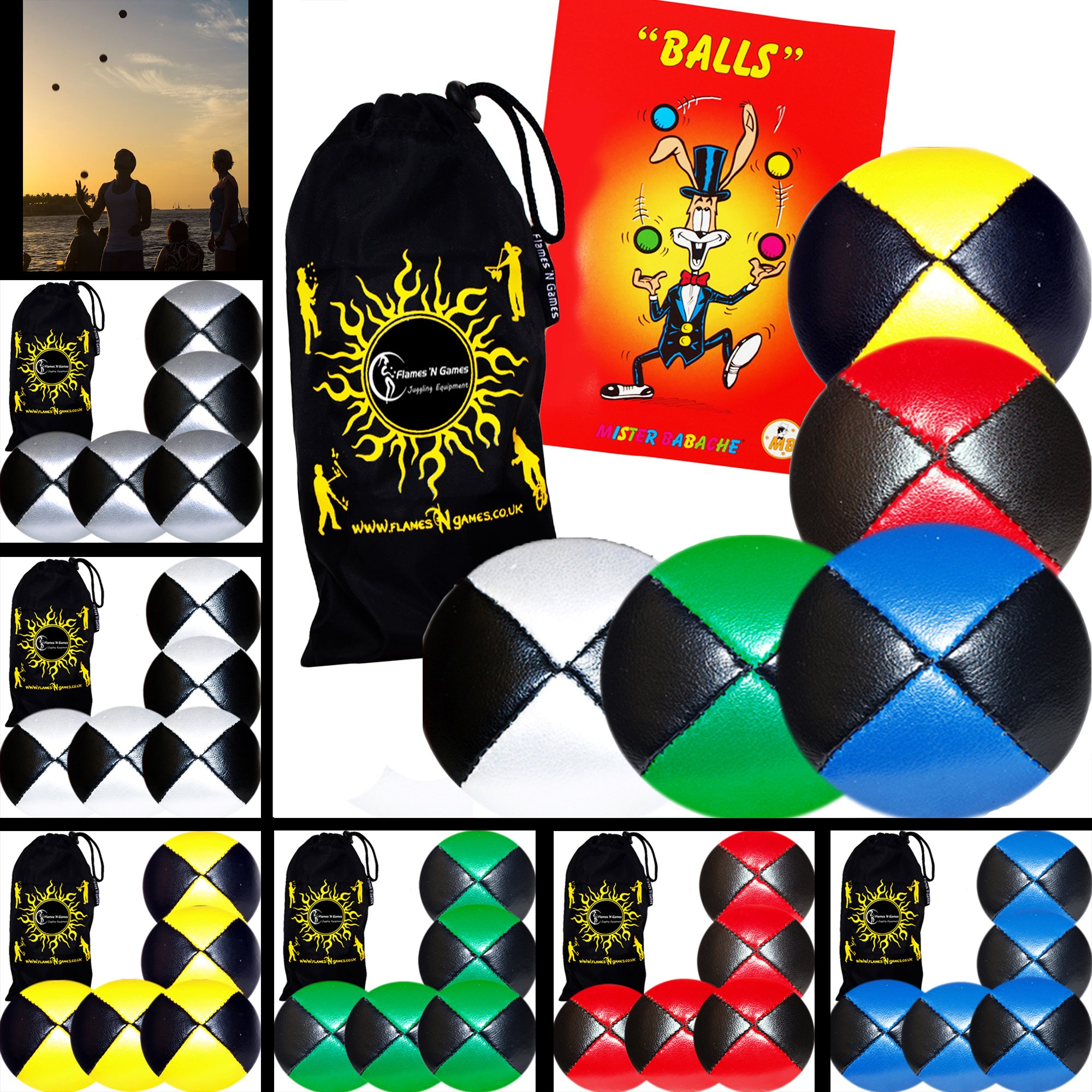 5x Pro Thud Juggling Balls - Deluxe (LEATHER) Professional Juggling Ball Set of 5 + Mister Babache Ball Juggling Book of tricks, and Fabric Travel Bag! (Mix of colors) Color: Mix of colors Model: by Flames N Games Juggling Ball Sets
