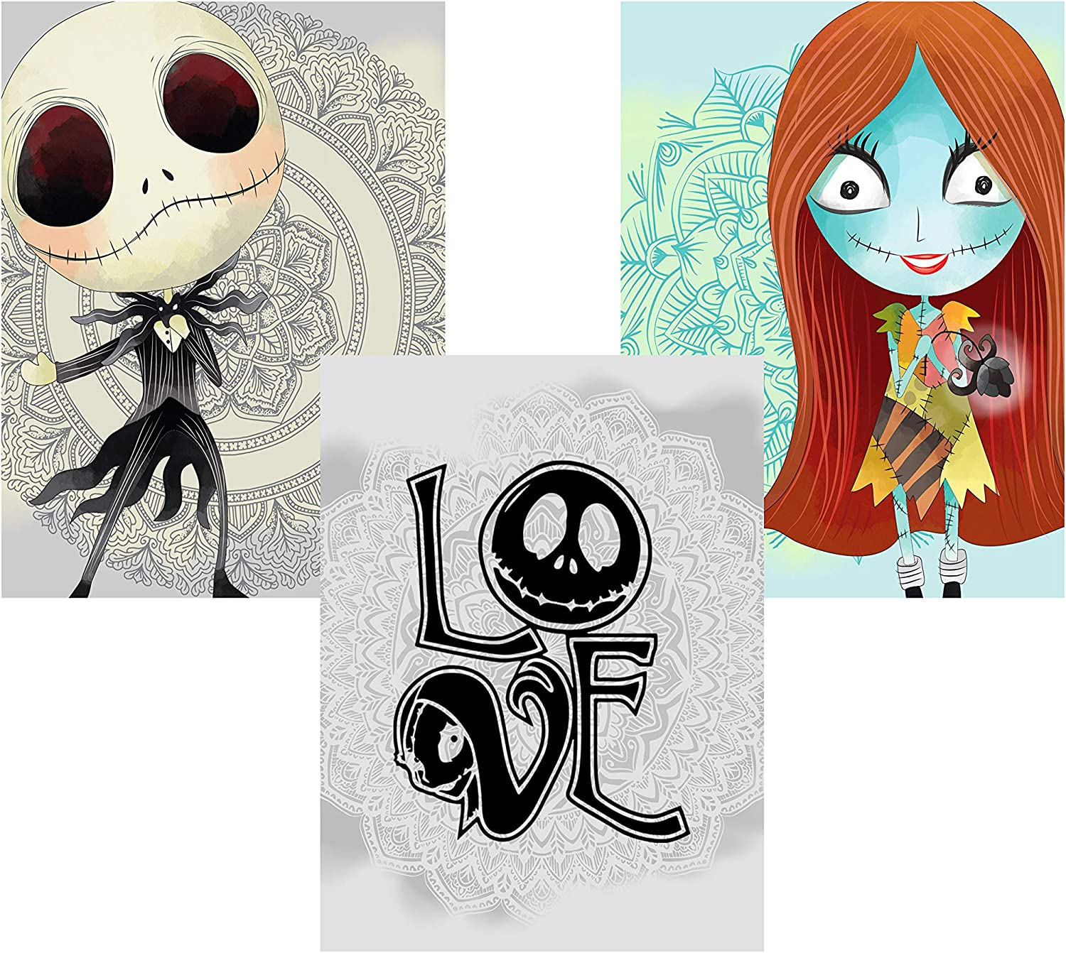 Silly Goose Gifts Nightmare Before Christmas Themed Character Wall Art Decor Baby Nursery Love (3pc Love Art Set)
