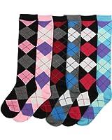 Women's Colorful & Fun Knee High Socks 6 Pack