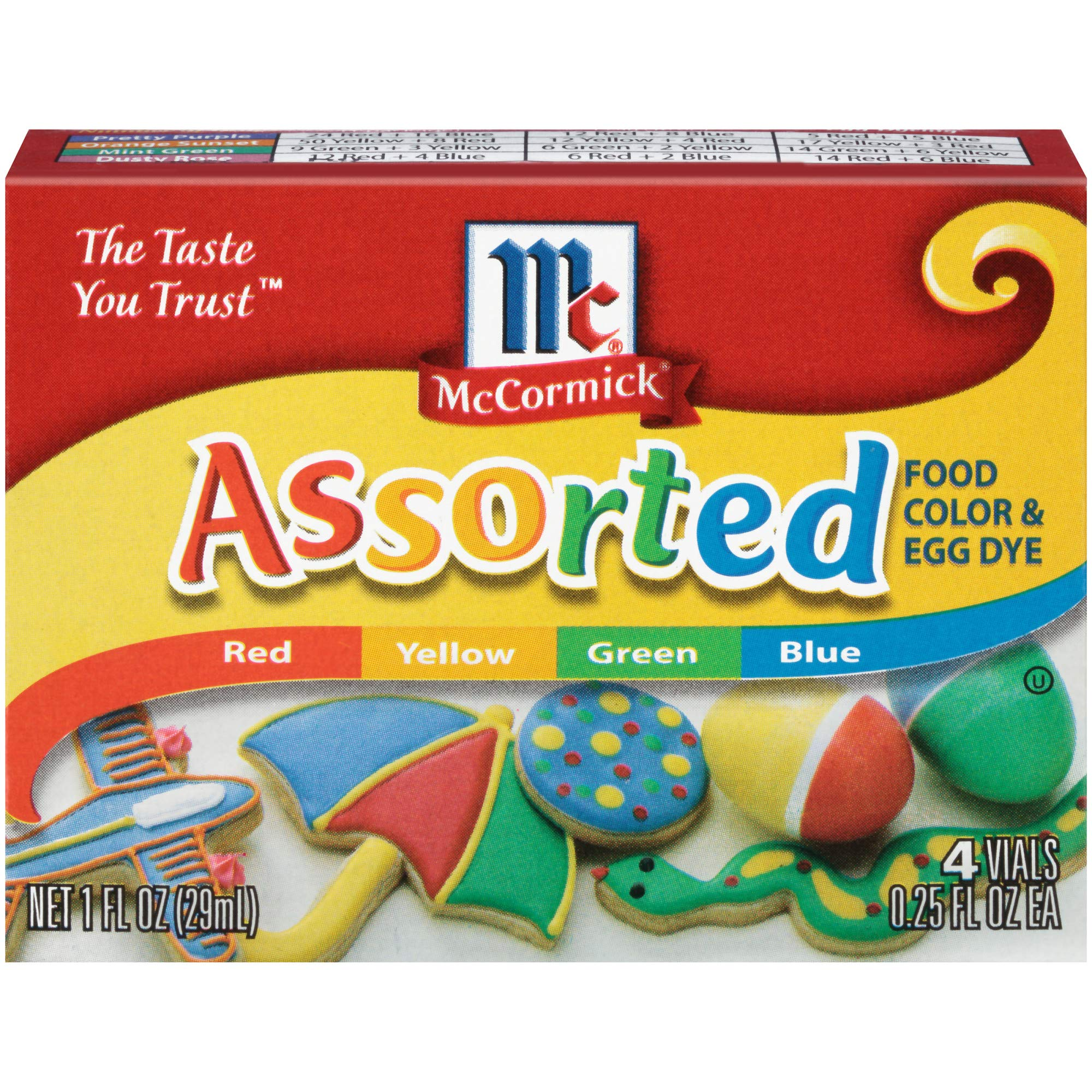 McCormick, Food Coloring & Egg Dye, Four Assorted, 1oz Box (Pack of 3)