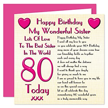 Sister 80th Happy Birthday Card