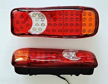 2 x LED Cola Luz de freno antiniebla trasera (24 V luces para remolque camión autobús Camper volquete autocaravana lámparas: Amazon.es: Coche y moto