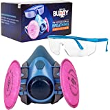 Breath Buddy Respirator Mask (Plus Safety Glasses) Reusable Professional Breathing Protection Against Dust, Pollen, Lead Pain