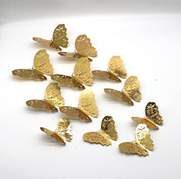 Amazon.com: 3D Butterfly Wall Decals Stickers Decorations, Gold ...