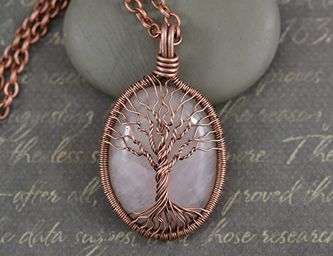 Amazon.com: Antique Copper Rose Quartz Necklace Tree-Of-Life Pendant ...