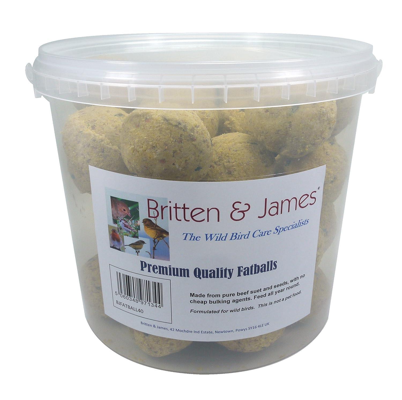 40 boules de graisse de qualité supérieure Britten & JamesMD dans un contenant pratique, frais et non refermable. L'un des aliments énergétiques les plus concentrés et les plus facilement métabolisés pour les oiseaux sauvages. Fabriqué à partir de suif