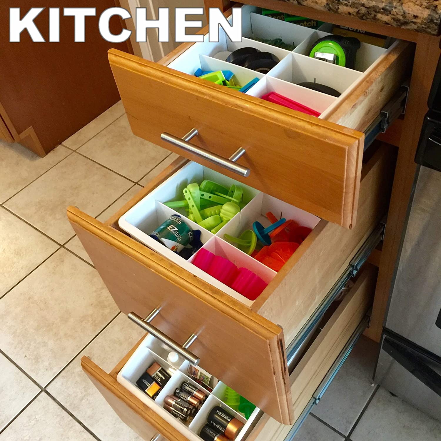 kitchen office organization. Amazon.com: Adjustable Drawer Dividers For Utility \u0026 Junk Kitchen And Office Storage Organization By Uncluttered Designs (1 Pack): Dining
