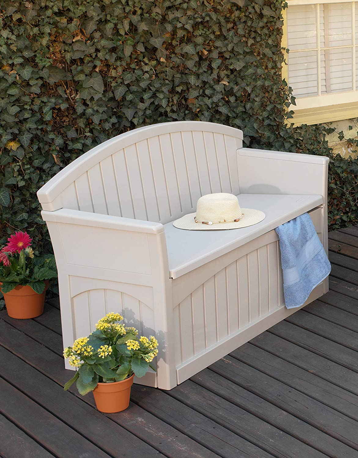 Tools Garden Backyard Patio Ideal for Storing Toys Suncast 50 Gallon Patio Bench with Storage Cushions Taupe Decorative Resin Outdoor Patio Bench for Deck