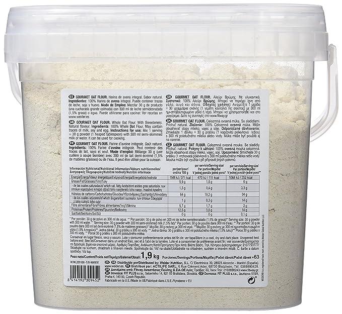 WEIDER Oat Gourmet Flour (Harina de Avena) Neutro 1,9 kg: Amazon.es: Salud y cuidado personal