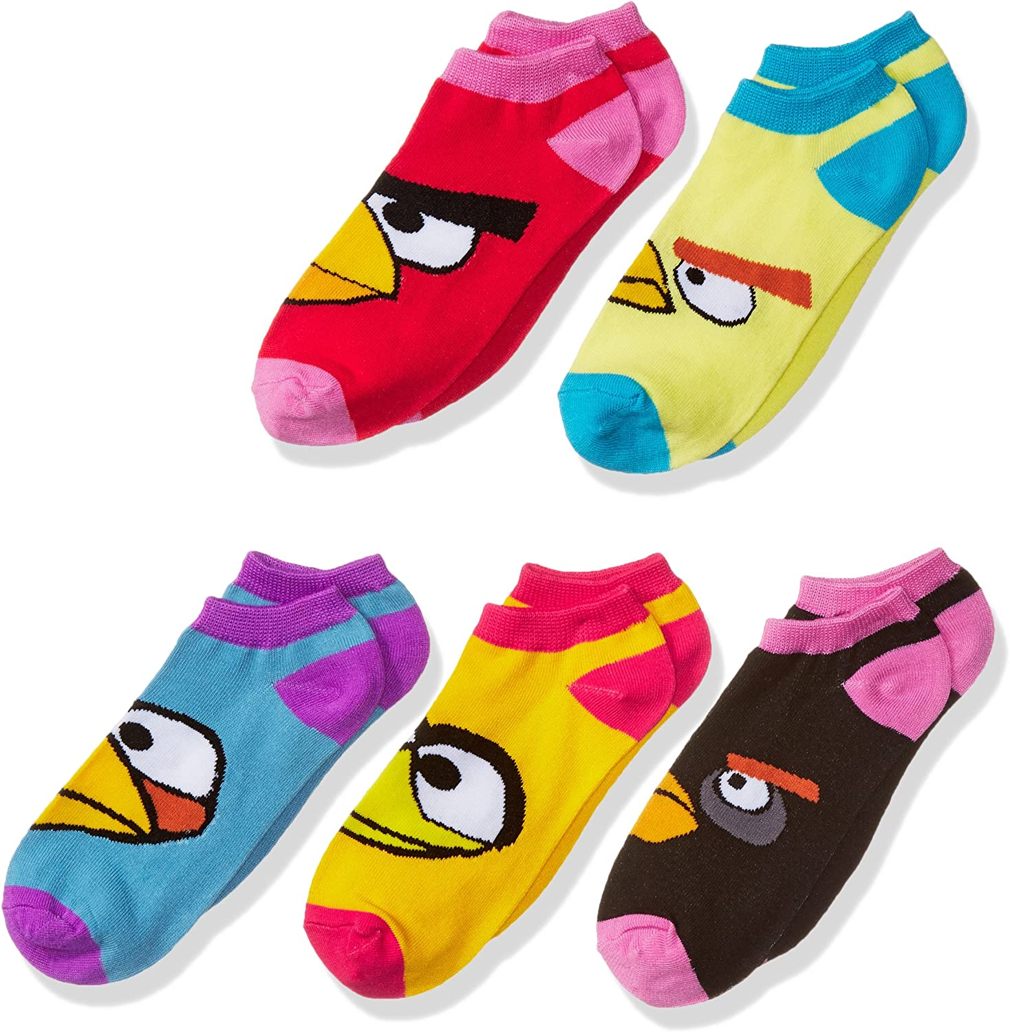 Angry Birds Girls Little See You 5pk Low Rise Socks