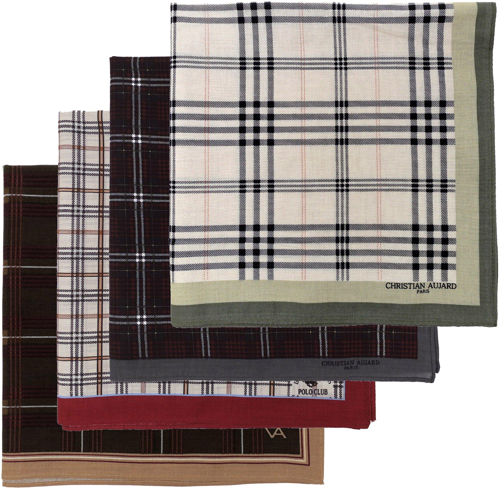Leevo Handkerchief Men Assorted Woven Cotton 100% Hankies Fashion 4pack OPP Set Assorted (17.5inch No.1~4 Assorted 4pack OPP set)