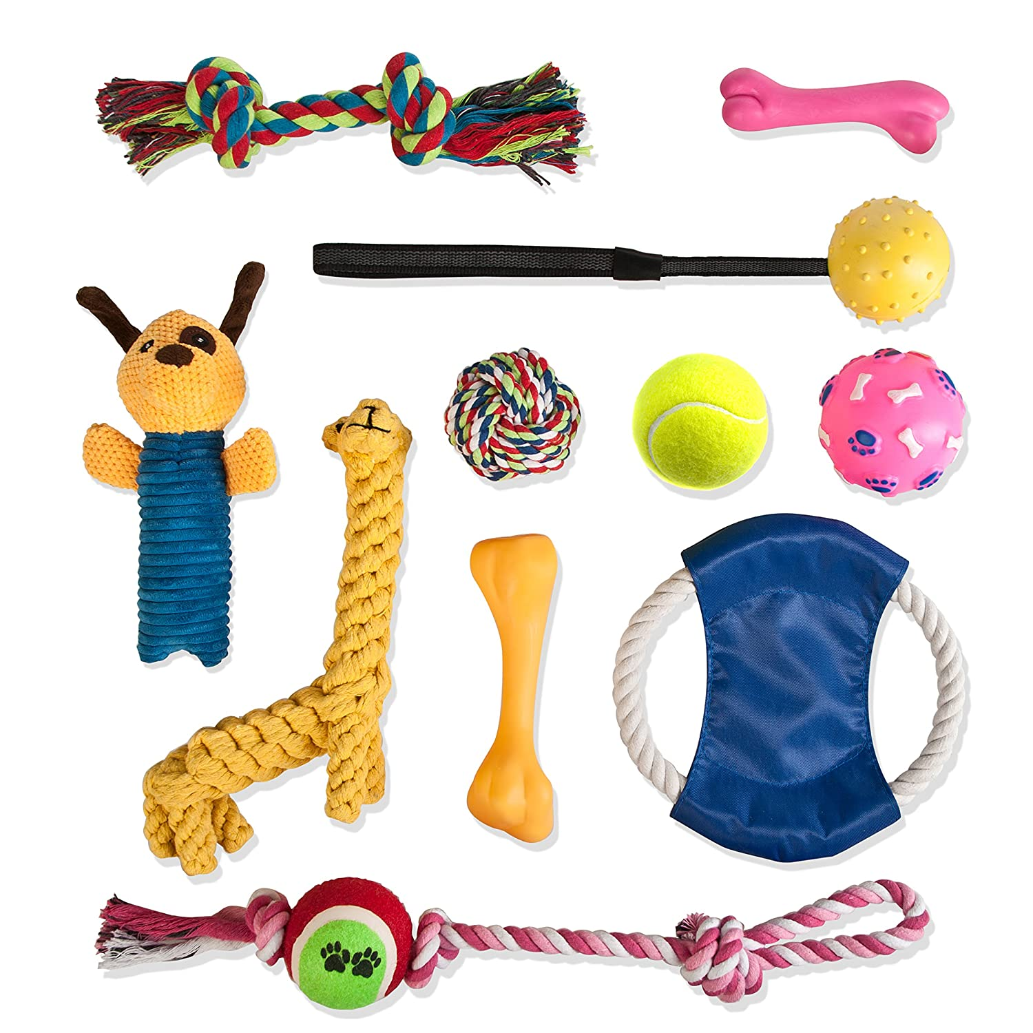 Dog Toy Gift Bag 11 Piece Set of Rope Toys, Squeaky Toys, Rubber Bones, Frisbee & Balls. Great Value Fun Variety Pack of Chew Toys for Small, Medium, and Large Dogs. Also for Puppy Teething
