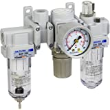 "PneumaticPlus SAU200A-N02G - Dual Air System 1/4"" NPT - Air Filter, Regulator & Lubricator w/ Additional Free Air Port 1/4"" NPT - Manual Drain, Poly Bowl, Gauge"