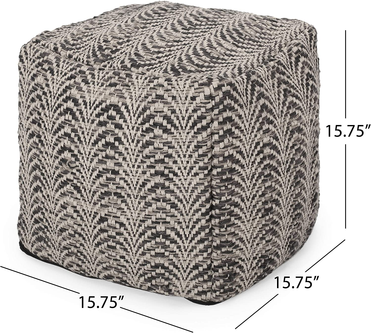 Black and Ivory Christopher Knight Home Markson Boho Fabric Cube Pouf