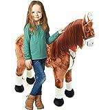 Cheval géant Anna de la marque Pink Papaya, 105 cm, cheval en peluche XXL au look de BD, Anna a une taille d'env. 105 cm | le cheval-jouet grandeur nature peut supporter jusqu'à 100 kg - crinière et queue longues - taille 100 cm | hauteur d'épaule env. 75 cm |
