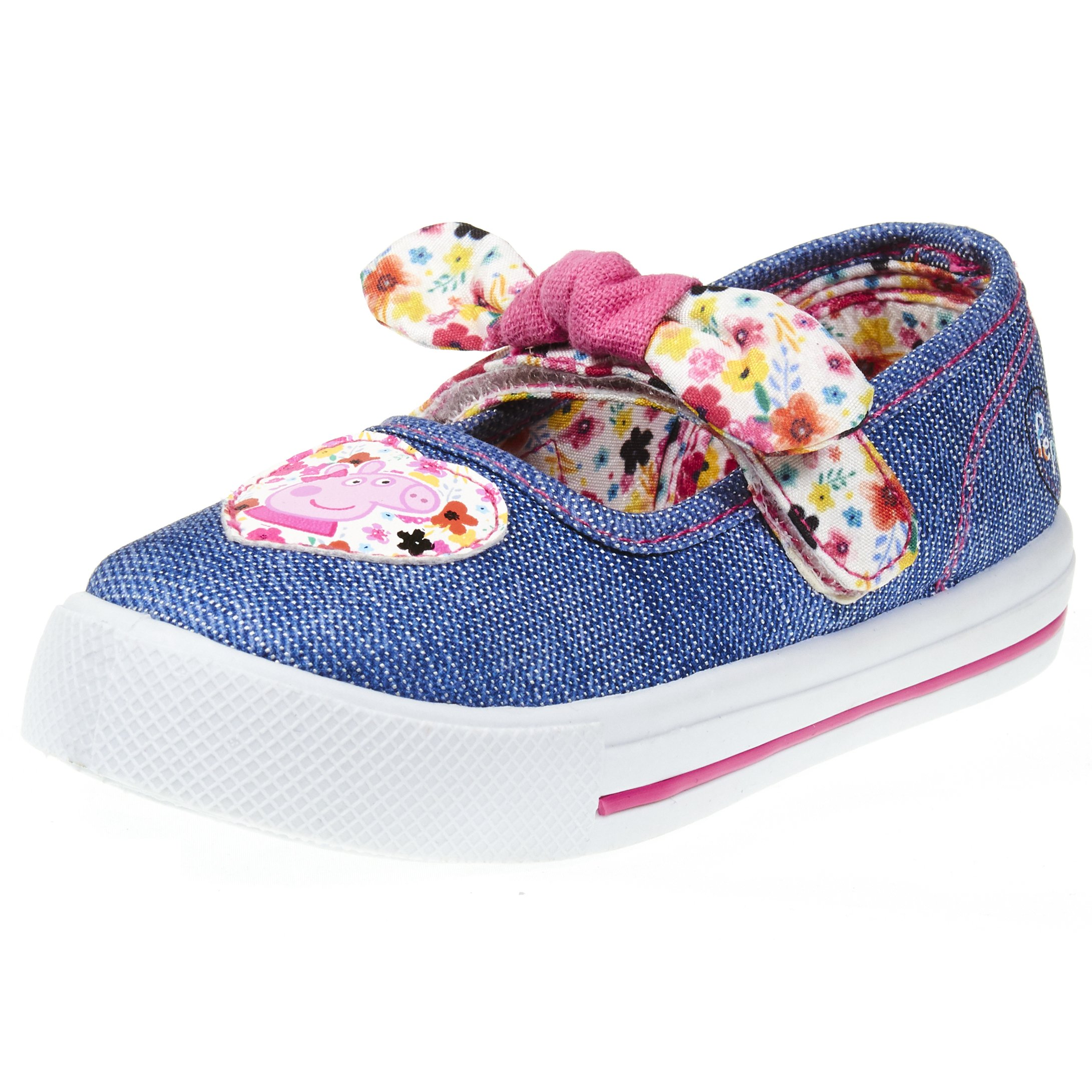 Peppa Pig Kids Toddler Girls Blue Denim Mary Jane Floral Sneakers with Heart Patch and Pink Contrast Stitching, Size 10