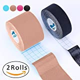 "Kinesiology Tape Pro, Muscle Support Adhesive, Physio Therapeutic Recovery Sports Athletic Aid, Mytape, 2 Uncut Rolls (2""W x 16.4'L / 1""W x 16.4'L, Beige / Black)"
