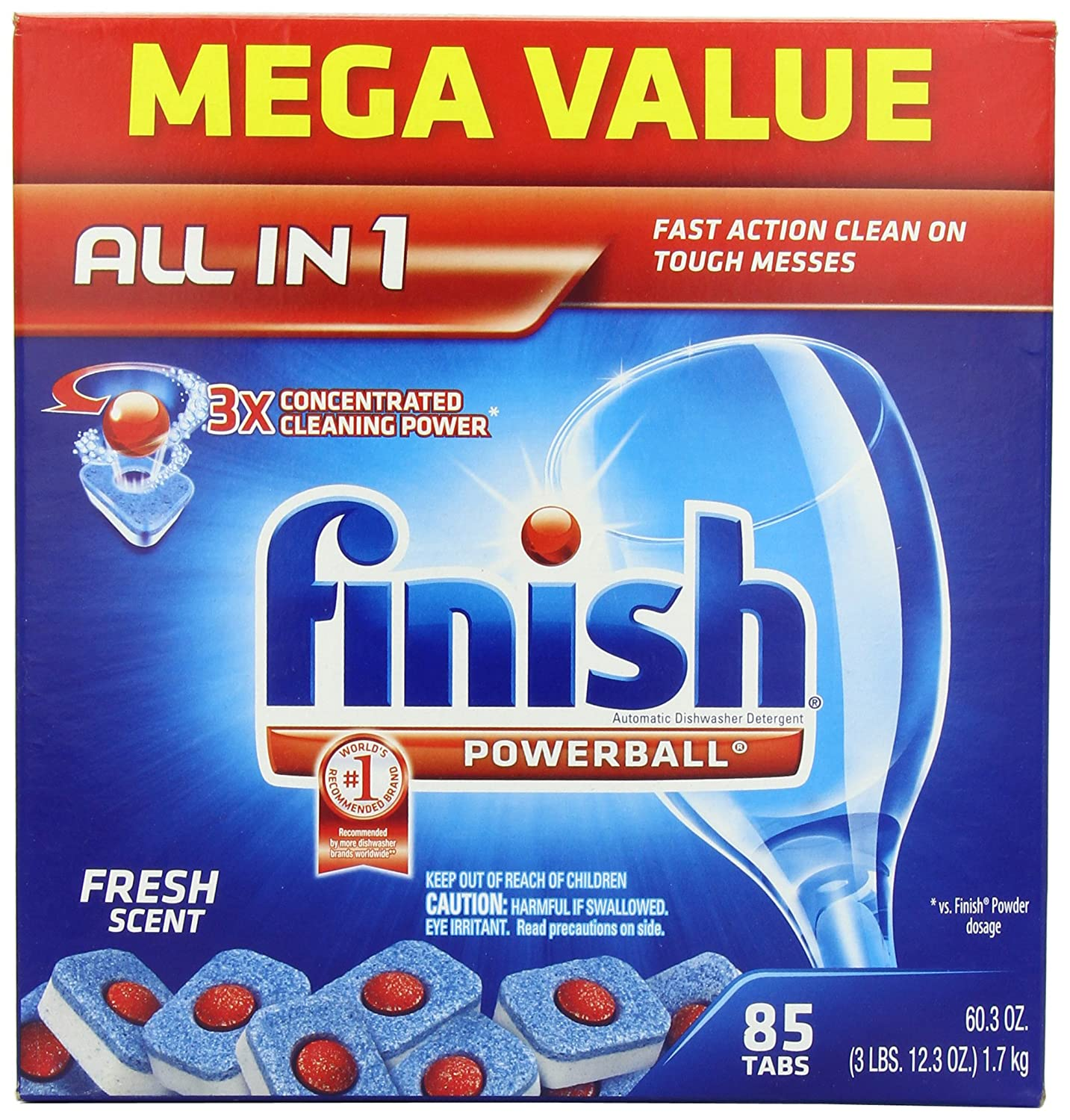 Amazon.com: Finish Powerball Tabs Dishwasher Detergent, Fresh Scent,  85 Count: Health U0026 Personal Care