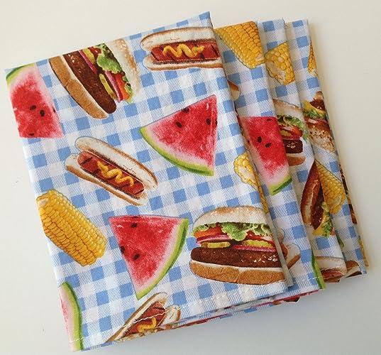 amazon com picnic cookout summer 12x12 cotton cloth napkins set of