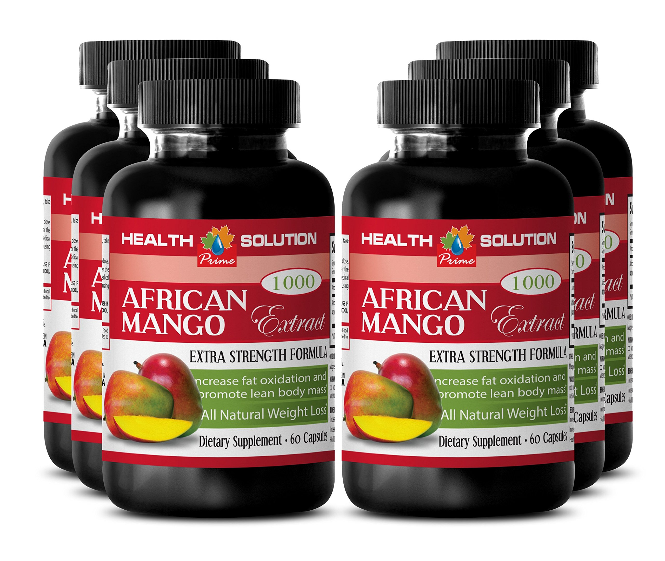 African Mango Premium Cleanse - African Mango 4:1 Extract 1000 mg - Weight loss herbal detox (6 Bottles 360 capsules)