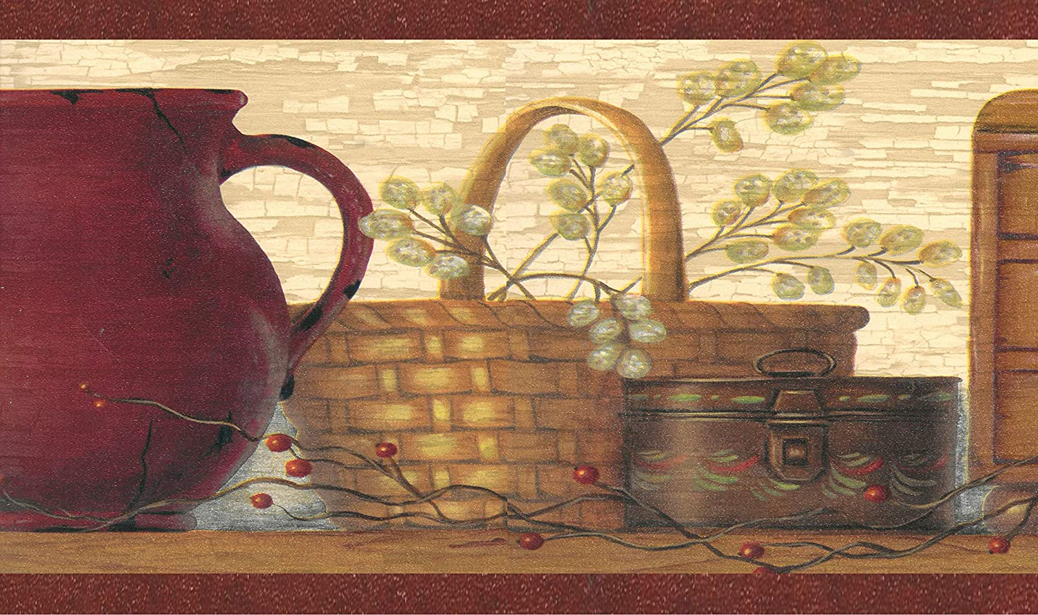 Dundee Deco BD6051 Prepasted Wallpaper Border Brown 4.57m x 17.78cm 15 ft x 7 in Chest Beige Jug Country Maroon Baskets Wall Border Retro Design