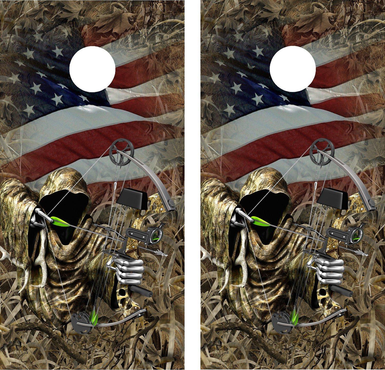 CornholeラップデカールCamo Grass Flag Bow Hunting Reaperラミネート