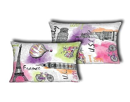 Stilia Funda Estampada para Cojines, Modelo Travel, 50 x 30 cm, Multicolor
