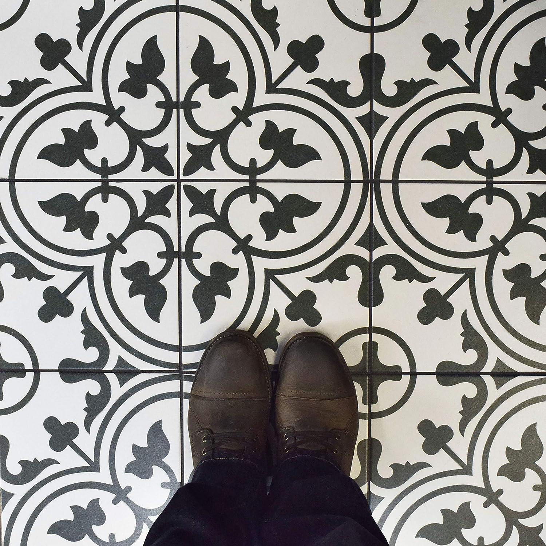 Black//Grey//White SomerTile FCD10ARW Burlesque Porcelain Floor and Wall Tile 9.75 x 9.75