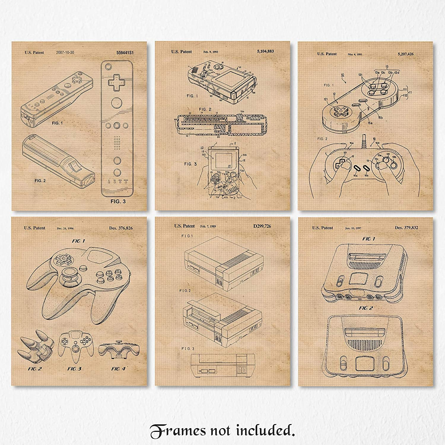 Vintage Nintendo Patent Poster Prints, Set of 6 (8x10) Unframed Photos, Wall Art Decor Gifts Under 25 for Home, Office, Garage, Man Cave, Shop, College Student, Teacher, Comic-Con & Movies Fan
