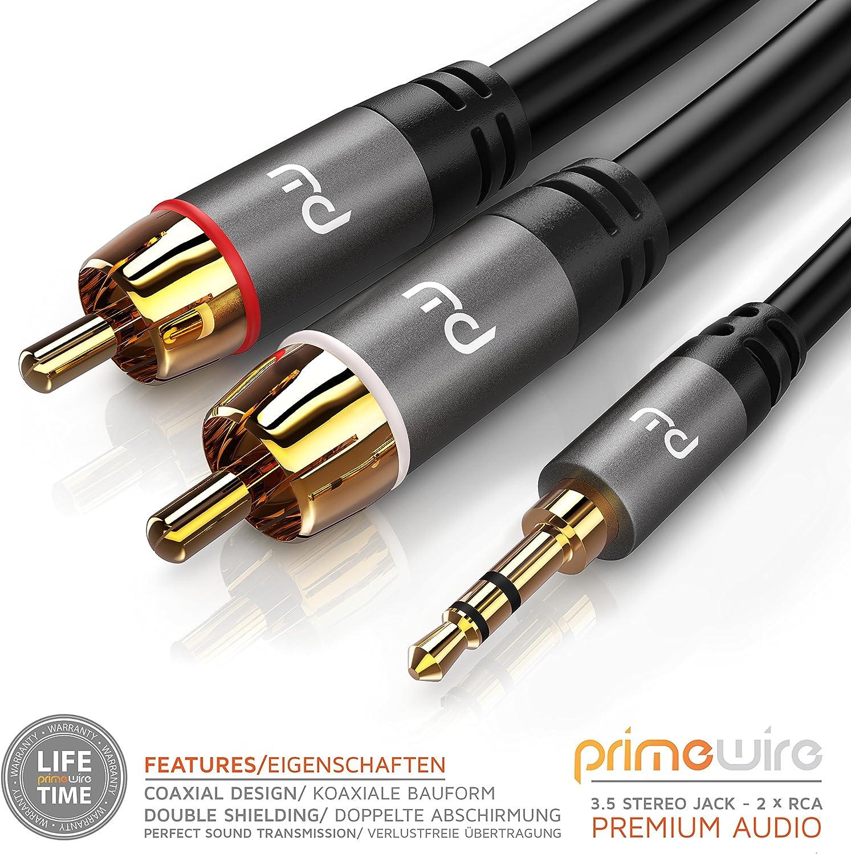 Lindy 35492 C/âble audio 2x RCA Cinch /à jack 3,5 mm M//M 2 m