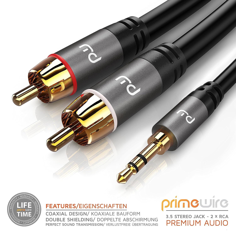 2 RCA a 3,5 mm Jack estéreo Cable 10 m | y divisor de Audio | conector RCA para sonido envolvente/DOLBY DIGITAL/DTS | 1 x conector jack de 3,5 mm a 2 ...