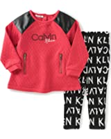 Calvin Klein Baby Girls' Pucker Knit Tunic with Leggings Set