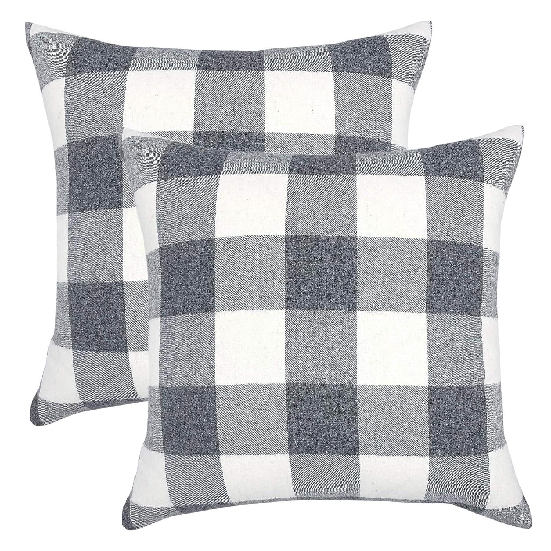 YOUR SMILE Retro Farmhouse Buffalo Tartan Checkers Plaid Cotton Linen Decorative Throw Pillow Case Cushion Cover Pillowcase for Sofa 18 x 18 Inch,Set of 2,Grey/White